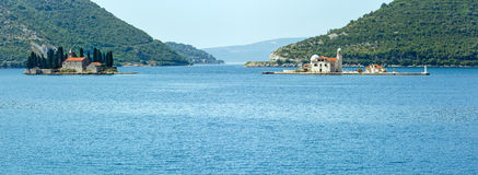 Two islets off the coast of Perast in Bay of Kotor, Montenegro. Stock Photography
