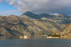 Two islets off the coast of Perast in Bay of Kotor. Montenegro Stock Photo