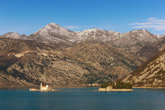 Two islets off the coast of Perast in Bay of Kotor. Montenegro Royalty Free Stock Images