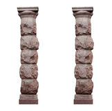 Two isolated architectural columns in rustic style on a white background Stock Images