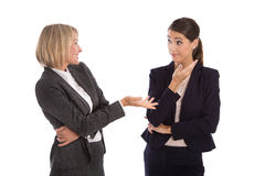 Two isolated businesswoman talking together: concept for body la Stock Photos