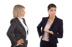 Two isolated businesswoman talking together: concept for body la Stock Photography