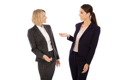 Two isolated businesswoman talking together: concept for body la Royalty Free Stock Photos
