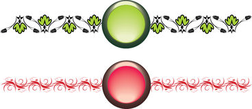 Two isolated buttons with ornament Royalty Free Stock Images