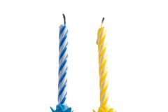 Two isolated candles Royalty Free Stock Images