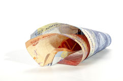 Two Isolated Coiled South African Bank Notes Stock Photo