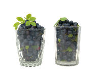A two Isolated glass with blueberry Royalty Free Stock Photography