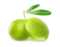 Two isolated green olives Royalty Free Stock Image