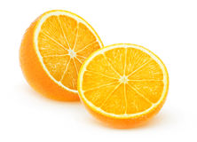 Two isolated halves of orange fruit. Two halves of orange fruit isolated on white with clipping path stock images