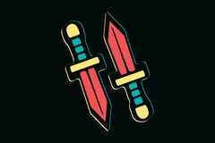 Two isolated hand drawn colorful swords on dark background, t-shirt design elements stock illustration