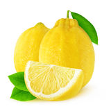 Two isolated lemons. Isolated lemons. Two whole lemon fruits and a slice isolated on white background with clipping path stock image