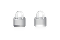 Two isolated locks on white background Stock Photo