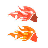 Two isolated logotypes. Woman with flame hair. Royalty Free Stock Images