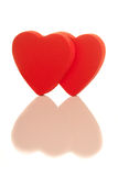 Two isolated red hearts Royalty Free Stock Photo