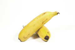 Two Isolated Ripe Yellow Bananas on White Stock Photo