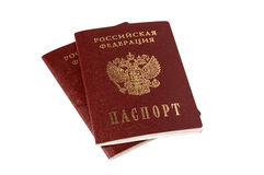 Two isolated Russian passports Royalty Free Stock Images