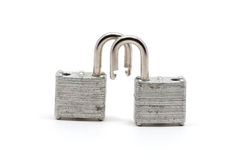 Two isolated silver locks Royalty Free Stock Photography