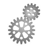 Two isolated steel cogwheel  Royalty Free Stock Photos