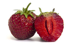 Two Isolated Strawberries Royalty Free Stock Photo
