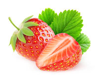 Two isolated strawberries royalty free stock photos