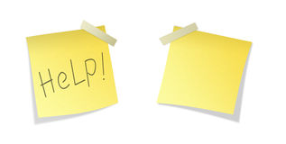 Two isolated yellows sticky paper. Two isolated yellow post it with Help word and blank Royalty Free Stock Photography