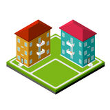 Two Isometric Buildings Royalty Free Stock Images