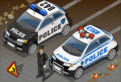 Two Isometric Police Car in Front View Royalty Free Stock Photography