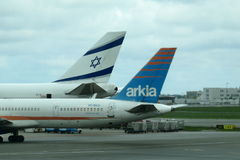 Two Israeli airlines Royalty Free Stock Photos