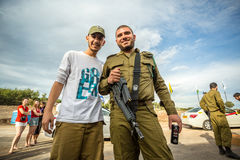 Two Israeli soldiers posing to the photo Royalty Free Stock Images