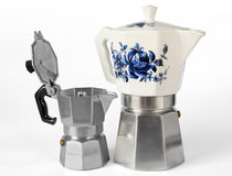 Two Italian Coffee Makers Stock Image