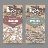 Two Italian cuisine labels with pizza and lasagna on cardboard Royalty Free Stock Photography
