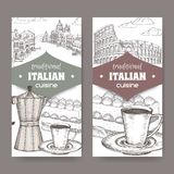 Two Italian cuisine labels with Venice and Rome landscape, tiramisu dessert, coffee cup and espresso maker on white. Set of two traditional Italian cuisine royalty free illustration