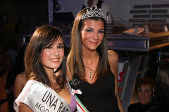 Two italian girls models smiling in a famous beauty contest Stock Images