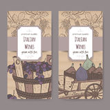 Two Italian wine labels with bottles and grape bucket. Stock Images