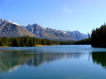 Two Jack Lake. Mountain reflections on Two Jack Lake, Banff National Park, Canada Royalty Free Stock Photos