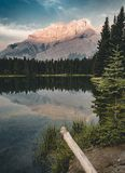 Two Jack Lake with mountain reflections along the Two Jack Lake. In Banff National Park, Alberta, Canada Stock Photography