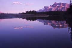 Two jack lake sunset Royalty Free Stock Photo