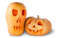 Two Jack O'Lantern Halloween Pumpkins Royalty Free Stock Photo
