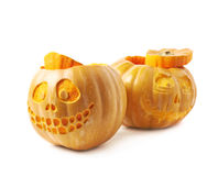 Two Jack-O-Lantern pumpkins  Royalty Free Stock Photos