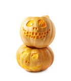 Two Jack-O-Lantern pumpkins isolated Royalty Free Stock Image