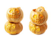 Two Jack-O-Lantern pumpkins isolated Stock Images