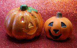 Two jack o lantern symbols of Halloween Royalty Free Stock Photography