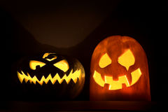 Two Jack-o'-lanterns Royalty Free Stock Photography