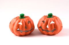 Two Jack-O-Lanterns Stock Images