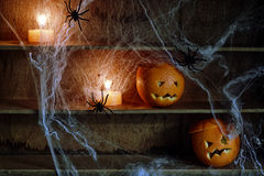 Two Jack o Lanterns Carved from Oranges on Shelf Stock Photo