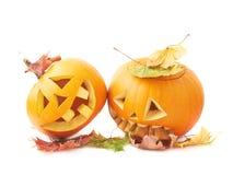 Two Jack-o'-lanterns pumpkin heads Royalty Free Stock Image