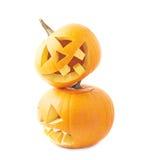 Two Jack-o'-lanterns pumpkin heads Royalty Free Stock Photos