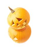 Two Jack-o'-lanterns pumpkin heads Stock Images
