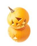 Two Jack-o'-lanterns pumpkin heads Stock Images