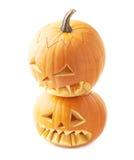 Two Jack-o'-lanterns pumpkin heads Royalty Free Stock Photo
